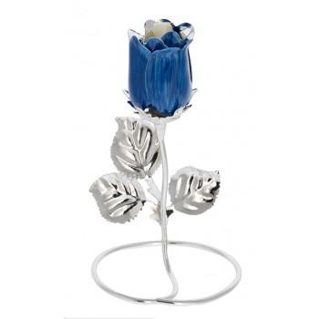 Rosa Argentata Bomboniera Blu