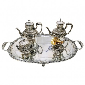 SILVER TEA-COFFEESET AND TRAY