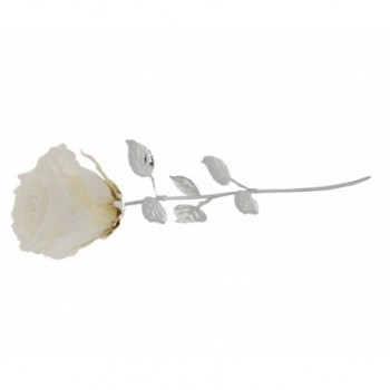 Rosa naturale con stelo e foglie argentate Mod. 1/BG art. 1899-30BI